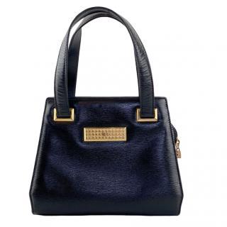 Christian Dior Black Vintage Leather Top Handle Bag