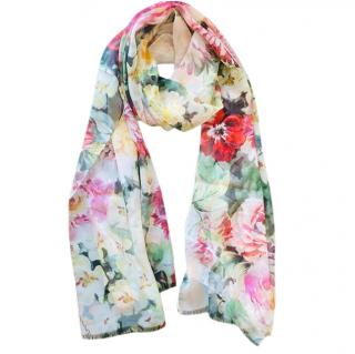 Dolce & Gabbana peony rose silk shawl/wrap/pareo
