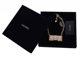 Dolce & Gabbana gold metal and crystal statement choker