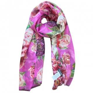Dolce & Gabbana Fuchsia Floral Print Wrap Scarf