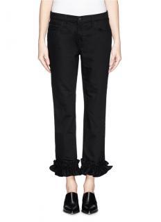 J Brand x Simone Rocha Jake Cropped Ruffle Jeans