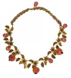 Dolce & Gabbana Sicily Fig Embellished Crystal Necklace