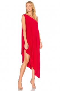 Norma Kamali One Shoulder Red Asymmetric Jersey Dress