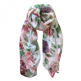 Dolce & Gabbana peony rose print silk scarf/pareo