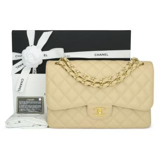 Chanel Beige Clair Caviar Classic Double Flap Jumbo Bag