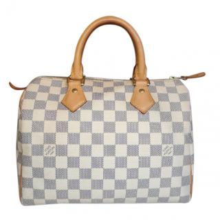 Louis Vuitton White Damier Azur 25 Speedy Bag
