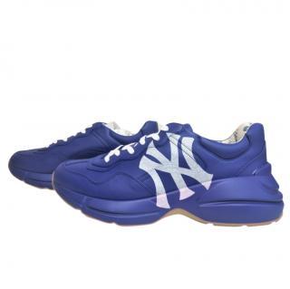 Gucci men's blue Rhyton Yankee Print Sneakers