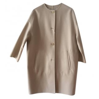 MaxMara taupe collarless wool coat