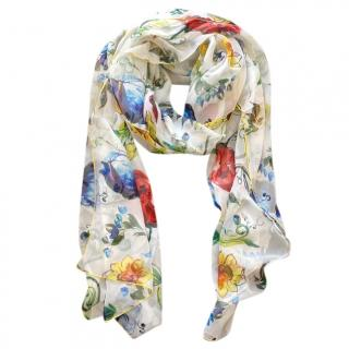 Dolce & Gabbana white floral Sicily Maiolica printed scarf wrap