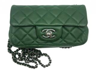Chanel bottle green extra mini quilted lambskin shoulder bag