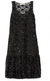 Michael Micahel Kors embellished black tulle mini dress