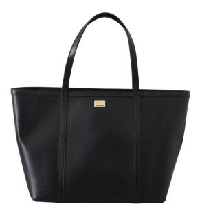 Dolce & Gabbana Black Leather Shopper Tote