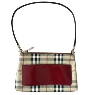 Burberry vintage House check shoulder bag with suede lining 1998