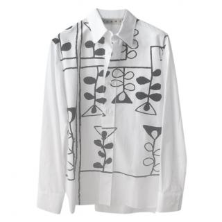 Marni bold print pure white cotton shirt
