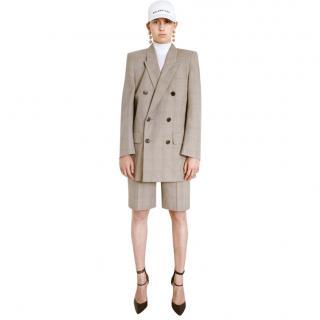 Balenciaga resort knee length brown check shorts