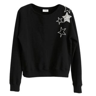 Saint Laurent Hedi Slimane's star embellished black sweatshirt