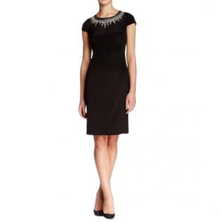 Mikael Aghal black beaded neckline fitted silk dress