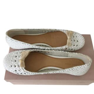 Miu Miu white woven leather ballet flats