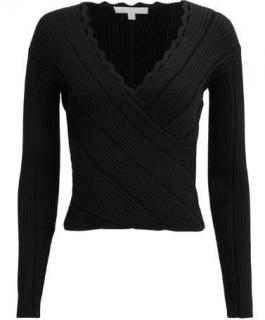 Jonathan Simkhai black scallop edged knit ribbed wrap top