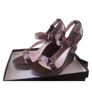 Celine Leather Open Toe Wedge Sandals