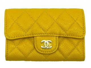 Chanel Yellow Caviar Leather Quilted Coin Purse