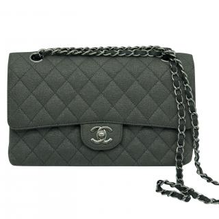 Chanel Grey Jersey Classic Flap Bag