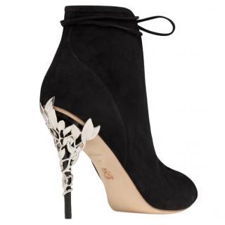Ralph & Russo Black Suede Lace-Up Eden Heel Booties