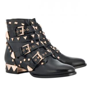 Sophia Webster Riko Leather Embellished Biker Boots