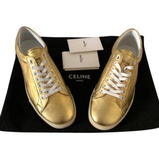 Celine by Hedi Slimane Gold Triomphe Sneakers