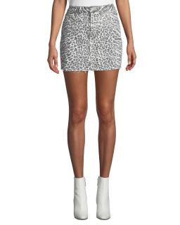 Current/Elliott The 5-Pocket Leopard-Print Denim Mini Skirt