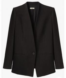 Helmut Lang Black Collarless Tailored Jacket