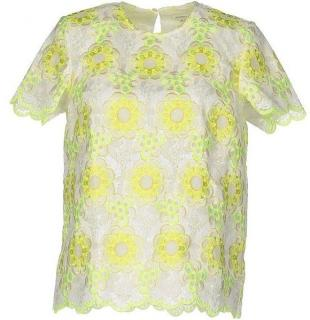 Manoush white & yellow floral lace top