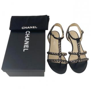 Chanel flat black leather gladiator sandals