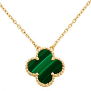 Van Cleef & Arpels Vintage Alhambra Pendant in Yellow gold & Malachite