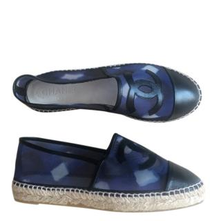 Chanel navy blue mesh and leather espadrilles