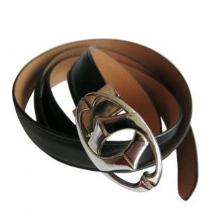 Cartier black leather double C belt