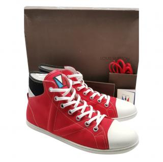 Louis Vuitton red America's Cup high top sneakers