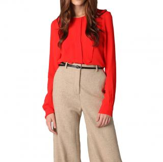 By Malene Birger tomato red ruffled blouse