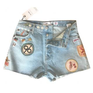 Re/Done embellished button front shorts