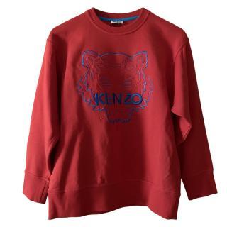 Kenzo Red & Blue Tiger Stitch Sweatshirt