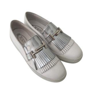 Tod's White & Silver Fringed Leather Loafers
