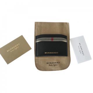 Burberry Black Leather & Check Cardholder