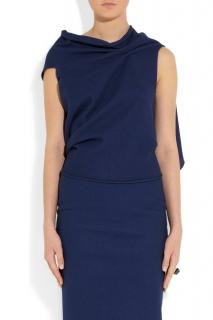 Roland Mouret Blue Eugene Asymmetric Draped Top