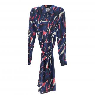 Zoe Karssen Navy Iris Silk Shirt Dress