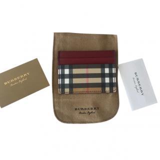 Burberry Red Leather Nova Check Card Holder