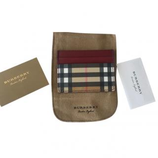 Burberry Red Leather Nova Check Card Holder