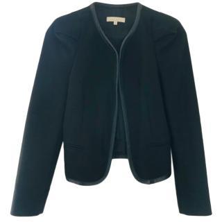 Sandro Black Leather Trim Jacket