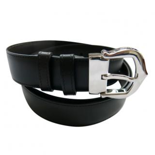 Cartier Black Reversible Leather Belt with Palladium Buckle