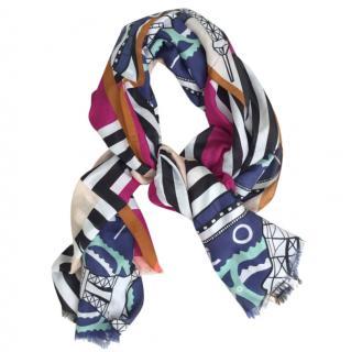 Kenzo Multi Coloured Print Frayed Silk Blend Scarf