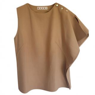 Marni Camel One Shoulder Button Detail Top
